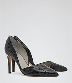 Brina Etched Black Laser-cut Court Heels - REISS