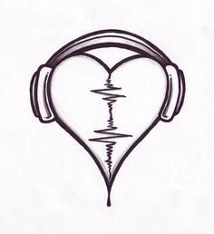 Audio Heart Tattoo Design By Pointofyou Designs Home.Use the Audio of a loved one for the wave form! Simple Audio Heart Design (Louis' tattoo before he had it covered) Music Heart Tattoo In the past 12 monthss, tattoos were regarded as a type of riot. Music Drawings, Pencil Art Drawings, Art Drawings Sketches, Tattoo Drawings, Broken Drawings, Sharpie Drawings, Manga Illustrations, Couple Drawings, Headphones Tattoo