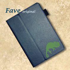 【送料無料】【名入れ対応】今、人気のオシャレな手帳型レザータイプ。 。iPadケース (カメレオン) 手帳型 オリジナル 送料無料 かめれおん ペットシリーズ 動物 アニマル 爬虫類 ネイビー iPad Air Air2 mini mini2 mini3 mini4