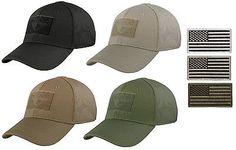Men's Condor Flex Fitted Tactical Cap Baseball Hat & USA American Flag Patch
