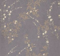 Fiona (839-T-4933) - Thibaut Wallpapers - A beautiful lustre ink design with sprigs of gold metallic on a rich aubergine purple - a stunning effect - vinyl coated. This is an American wallcovering and will take between 7-10 working days for delivery. Wide width. Request sample for true colour.