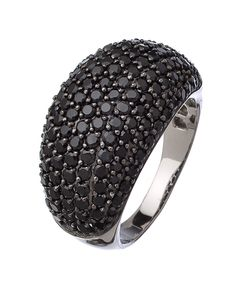 Yobrevol Silver and Black Spinel Dome Ring