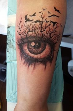 My newest and most badass tattoo. Creepy eye and a murder of crows