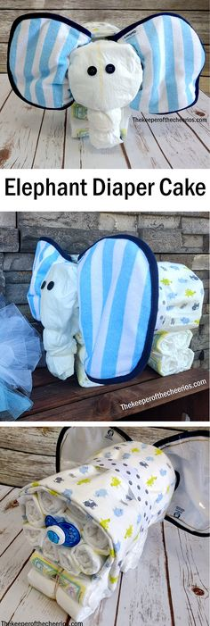 0e766720c899c5 Elephant Diaper Cake Baby Shower Diapers