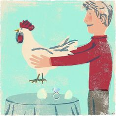 Engagement Weekend / a very old piece I did for The New York Times #art #people #illustrator #illustration #hen #chicken #red #love #life #lifestyle #american #イラスト