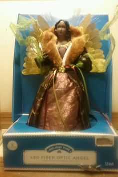 """Holiday Time LED FiberOptic African American Angel 12"""" Tree Topper Christmas NEW #HolidayTime"""