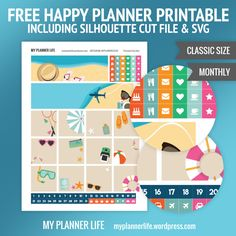 Free Printable Summer Beach Planner Stickers from My Planner Life