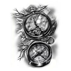 Clocks and Compass Tattoo designs Drawing