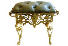 Antique English Brass Footstool on OneKingsLane.com