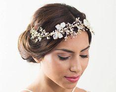Braut Haar-Rebe, gold Haare Rebe, Brautschmuck, Haarschmuck, hochzeitshaare Blattgold, Blattgold Haarteil, Hochzeitszubehör