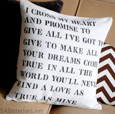 Wedding-Lyric-Stencil-Drop-Cloth-Pillow.  What an awesome idea for a bed pillow!!! Created by Amanda of Wit & Whistle