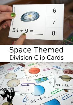 Hands-On Space Themed Division Clip Cards
