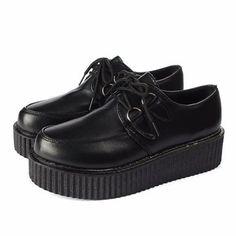 Retro Pure Color Platform Flat Lace Up Shoes