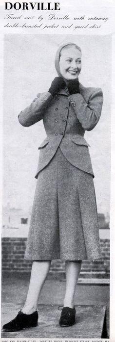 Dorville skirt suit with cut-away jacket, 1947. #vintage #1940s #suits #fashion