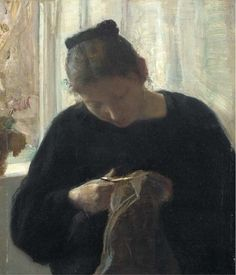 A woman at her needlework, Carl Vilhelm Holsøoe. Danish (1863 - 1935)