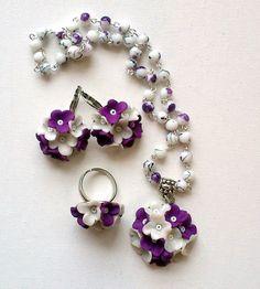 Violet jewellery setFlower jewellery setEarrings pendant by insou, $22.00