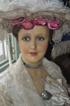 April wearing an Edwardian hat decorated with velvet flowers and ostrich feathers. Vintage Mannequin, Dress Form Mannequin, Mannequin Heads, Store Mannequins, Hat Stands, Vintage Boutique, Most Beautiful, Wax, Dress Up