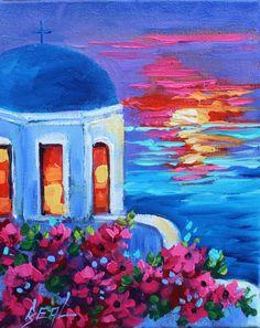 Oil Painting Original Santorini Greece Sunset Floral Gift Landscape on Canvas