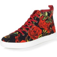Dolce & Gabbana Flower pattern high sneakers (920 BRL) ❤ liked on Polyvore featuring shoes, sneakers, floral pattern shoes, black trainers, flower print sneakers, round toe sneakers and round toe shoes