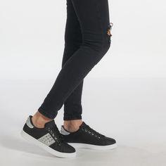 Teniși negri de dama din piele ecologica cu detalii stralucitoare și metalice it240118-38 | Fashionmix.ro