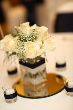 elegant white rose centerpiece