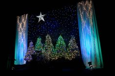 Angela Yee from University Covenant Church in Davis, California brings us this beautiful, simple Christmas stage design. Christmas Pageant, Christmas Concert, Merry Christmas, Simple Christmas, Christmas Lights, Christmas Trees, Christmas Program, Christmas 2019, Christmas Stage Decorations