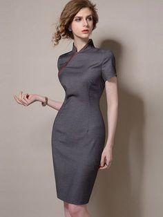 Black Qipao / Cheongsam Dress with Asymmetric Zip - CozyLadyWear