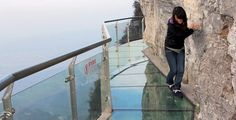 The Walk Of Faith is a glass walkway built off the side of a cliff 1,430 meters in the air. This 60 meter long walk is not meant for the faint of heart. Located in China's Tianmen Mountain National Forest Park.