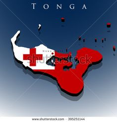 vector 3d Tonga map with a flag on a blue background, EPS 10