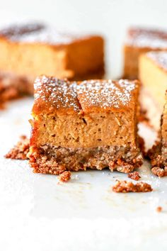 These dairy free and gluten free pumpkin pie squares have all the delicious flavor of pumpkin pie but with an easy, toasty pecan crust. Gluten Free Pumpkin Pie, Pumpkin Pie Bars, Pumpkin Recipes, Pumpkin Pumpkin, Healthy Pumpkin, Healthy Pie Recipes, Sweet Recipes, Healthy Dishes, Healthy Sweets