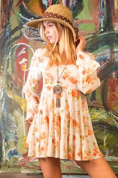 100% Rayon Fabric: RGP (Rayon Gauze Print) MADE IN USA #bohemian #boho #dress #floral #feminine #fashion #style #clothing