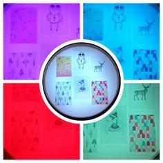 Novietojot caurspīdīgas plastikāta kartiņas ar bildēm uz Smilšu lampas, var pētīt kā mainās zīmējuma nokrāsas, ja nomaina Smilšu lampas LED gaismas krāsu ar tālvadības pulti!