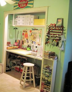 sewing closet. i gotta get a table that fits in my closet! Please babe!!