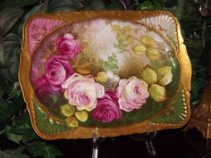Breathtaking Limoges Tray with Pink and Red Roses Signed Listed Artist Albert