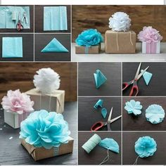 Tissue Paper Flowers - make into letters like at Milk and Honey
