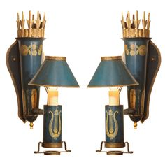 Pair of French Empire Style Tole Wall Sconces