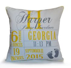 Baby Stats Pillow For New Mom Personalized Baby Girl Boy Nursery Decor Throw Accent Pillow Photo Prop New Baby Gift Birth Announcement
