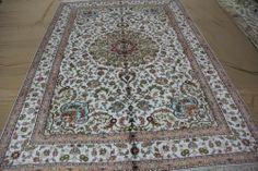 6'x9' Handmade Hand-knotted 450 kpsi Silk Oriental Persian Tabriz Rug B510