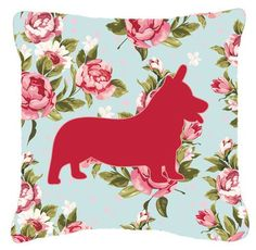 Corgi Shabby Elegance Blue Roses Indoor/Outdoor Throw Pillow