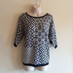 NWT Short Sleeve Pullover Sweater Navy and white Colorblock print pullover. New with tags. 55% acrylic, 45% cotton. No trades. Generous discount with bundle. Skies Are Blue Sweaters Crew & Scoop Necks