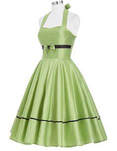 GRACE KARIN® Women 50s Dress Halter Vintage Dresses CL6075 at Amazon Women's Clothing store: