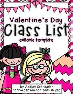 Valentine's Day Class List template paper - EDITABLE !
