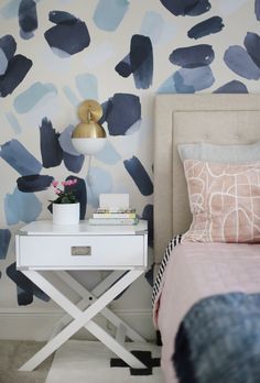 A playful and pattern-filled pre-teen's bedroom. Playful Pink, Black and Blue Pre-Teen Girls Bedroom Living Room Decor, Bedroom Decor, Bedroom Ideas, Dressing Room Design, Teen Girl Bedrooms, Blue Teen Girl Bedroom, Pb Teen Rooms, Wallpaper For Girls Bedroom, Modern Teen Bedrooms