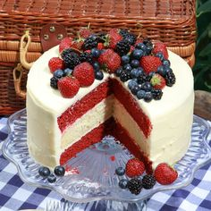 If you want a knockout ending to your July 4th feast, look no further. This three-layer red-and white-striped tall cake with its tumble of blue and red berries might just steal the show from the fireworks! Thankfully, it won't steal a lot of your time to make. I kept it simple with a cream cheese icing (no complicated French buttercream), easy red-velvet cake layers, and a streamlined lemony white-cake layer that does not require egg whites to be whipped and folded. Make it ahead, and you…