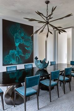 teal contemporary dining room - this would make a wonderful small modern board room.