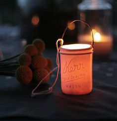 Mason Jar Votive Lantern by PigeonToeCeramics on Etsy