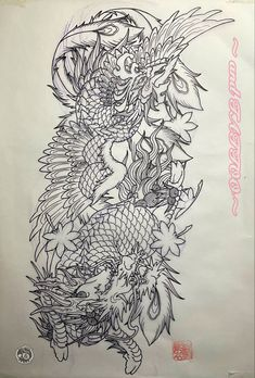Dragon Tattoo Colour, Dragon Sleeve Tattoos, Asian Tattoos, Japanese Tattoo Art, Blackwork, Tattoo Designs, Wings, Illuminati, Color