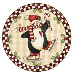 Christmas Penguin in round frame Christmas Card Crafts, Christmas Graphics, Christmas Scrapbook, Christmas Clipart, Christmas Printables, Christmas Pictures, Christmas Art, Winter Christmas, Vintage Christmas