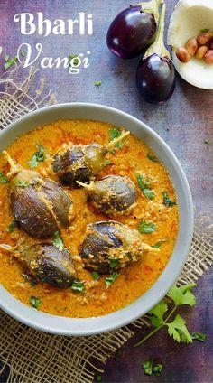 Bharli Vangi (Maharashtrian style stuffed baby eggplant)