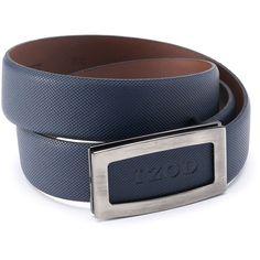 Men's IZOD Cutout Logo Plaque Golf Belt ($25) ❤ liked on Polyvore featuring men's fashion, men's accessories, men's belts, blue, mens leather accessories, mens navy blue leather belt, mens blue belt and mens genuine leather belts